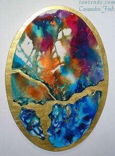 """Fire Opal Egg""  ink, watercolor, gold leaf on wood"