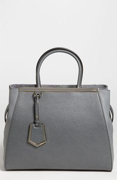 Free shipping and returns on Fendi '2Jours Elite' Leather Shopper at Nordstrom.com. Richly hued leather shapes a legendary shopper styled with a sleek logo top bar and subtle juxtaposition of textures for an impeccable effect. Best Handbags, Purses And Handbags, Fendi Purses, Mk Handbags, Grey Fashion, Fashion Moda, Fashion Bags, Fashion Accessories, My Bags