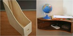Using a wooden magazine file from IKEA, this blogger converted it into a catch-all shelf/desk. Just stain it, put it on its side and mount it. It quickly became a great spot for keys, loose change and mail.