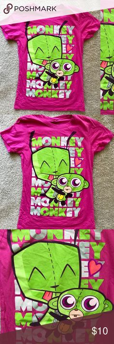 """MIGHTY FINE Girl's MONKEY Tee Shirt TOP Small This item is a sweet little girl's top by MIGHTY FINE size Small.  Fabric is 100% cotton in bright pink with lime green and purple print at front.  Unstretched measurements are approximately 32"""" at chest, 23"""" in length.  Item sold in gently-used condition. Mighty Fine Shirts & Tops Tees - Short Sleeve"""