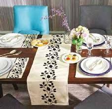 mantel individual de lino blanco lino bordado floral azul blanco mantel de juego de 4 mantel de tela ropa de mesa regalo de boda mesa de bordado - Caminos De Mesa