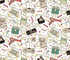 Favourite Game Retro White fabric by teja_jamilla on Spoonflower - custom fabric Snowflake Wallpaper, Pow, Retro Gamer, Gamer Gifts, Retro Pop, Fabulous Fabrics, Custom Fabric, Fabric Shop, White Fabrics