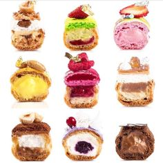 We bake fresh Eclairs, Choux and Chouquettes, all day, every day! Our pastry store in London has a 3 Michelin star pastry chef at its helm. French Desserts, Mini Desserts, Just Desserts, Donut Recipes, Cake Recipes, Dessert Recipes, Eclair Recipe, Eclairs, Fancy Desserts