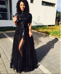 Jessica Nkosi on black gown
