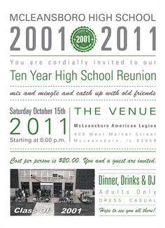 McLeansboro High School Reunion Invitations by Kelly Friederich, via Behance 10 Year Reunion, School Reunion, Class Reunion Invitations, High School Classes, Good Essay, Behance, College Graduation, Invitation Design, 10 Years