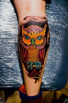 colorful owl tattoo | Colorful Owl Tattoos
