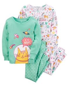 Baby Girl 4-Piece Snug Fit Cotton PJs | Carters.com