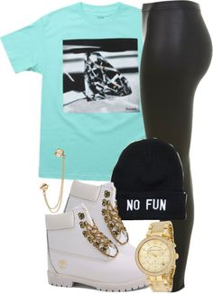 A fashion look from March 2013 featuring Diamond Supply Co. t-shirts, Miss Selfridge leggings and Michael Kors watches. Browse and shop related looks. Outfits Jeans, Timberland Outfits, Cute Swag Outfits, Dope Outfits, Girl Outfits, Fashion Outfits, Cute Fashion, Urban Fashion, Teen Fashion