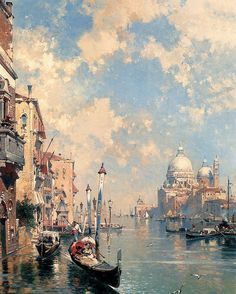 The Grand Canal Venice  Franz Unterberger (1837-1902) was a romantic style painter of architectures water scenes and landscapes.He produced most of his artworks using oil on canvas technique.Franz is best recognized for his Italian scenic paintings featuring intimate views and large vistas of Italys iconic cities.  On the other hand his romantic atmospheric painting style is still very popular.His artworks are currently displayed in some of the most important museums in Europe and America…