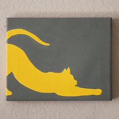 These cute and simple cat silhouette paintings are so easy and the perfect decor for a crazy cat lady!
