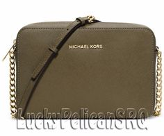 Michael Kors Jet Set Travel Large Crossbody Messenger  Saffiano Olive Green NWT #MichaelKors #MessengerCrossBody