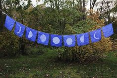 PHASES OF the MOON : silk flag banner budding naturalist hand stamped batik Flag Garland, Bunting, Prayer Flags, New Shape, Textiles, Moon Phases, Wiccan, Diy, Prayers