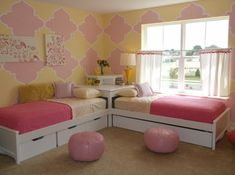 Shared Girls Room with beautiful pink and yellow painted mural.