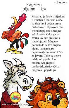 Magarac, pijetao i lav - Ezopove basne - basna za djecu #basne #ezop #priče #škola Croatian Language, Farm Activities, Kids Library, Dramatic Play, Serbian, Kindergarten, Projects To Try, Letters, Education