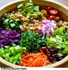 Chopped salad bowl: full of veggies, healthy fats, and lean protein! Give tofu a try! (buy the extra firm for best texture)