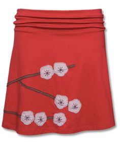 I love the colors and the cherry blossom appliqué on this skirt.                                                                                                                                                                                 More