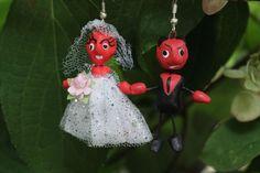 Bride & Groom Devil Clay Earrings from Puebla, Mexican Folk Art, Hippie…