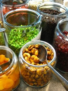 Gourmet Salad Bar...like the idea of using these jars for salad fixings