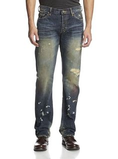 58% OFF PRPS Men's Barracuda Straight Leg Paint Destroyed Jean