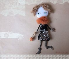 Run to the Party Art Doll Brooch  mixed media by miopupazzo,