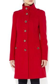 Red Stitch Detail Funnel Jacket