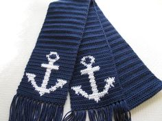 Anchor Scarf for Men. Navy blue crochet scarf with anchors. MADE TO ORDER. via Etsy. Or this Todhunter-Gerberg Brown Crochet Mens Scarf, Knit Or Crochet, Crochet Gifts, Crochet Scarves, Crochet Clothes, Men's Scarves, Irish Crochet, Crochet Designs, Crochet Patterns
