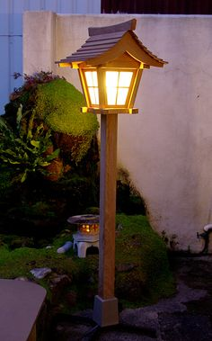 Japanese garden lantern at night