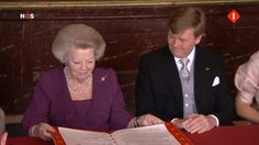 The abdication ceremony of of Queen Beatrix April 30th, 2013 Found on royalwatcher.tumblr.com via Tumblr Queen Beatrix of the Netherlands and the House of Orange-Nassau signs her abdication papers with her son and heir Willem-Alexander