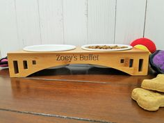 Personalized Elevated Pet Feeder Stand with Two Bowls Engraved Bamboo Wood Dog or Cat Food Station *** To learn more, browse through picture link. (This is an affiliate link). Wood Dog, Food Stations, Dog Feeder, Medium Dogs, Pet Names, Cat Food, Dog Bowls, Your Pet, Buffet