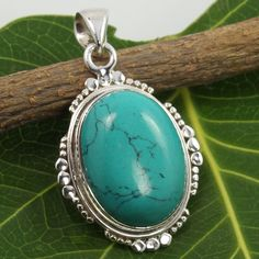 925 Sterling Silver TURQUOISE (S) Gemstone Fabulous Pendant Gift For Loved Ones #Unbranded #Pendant