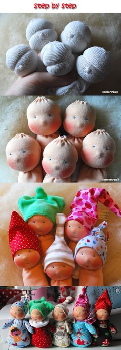 little dolls, step by step - oh how adorable are those hats? These would be so cute for Operation Chirstmas Child!!