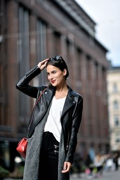 Didem Özgûn in Samsøe & Samsøe Duris leather jacket.