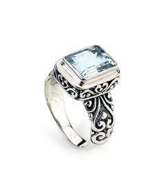 Blue Topaz & Sterling Silver Bali Ring by Samuel B.