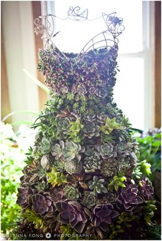 Here are five fabulous examples of vertical succulent gardens created on life size wire dress forms. These can be used indoors or outdoors with real or artificial  succulents.We are in the process of producing a tutorial to show you how to make these. The tutorial will be $5.00 but if you purchase the dress form …