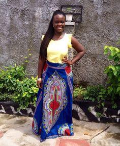 African Clothing Blue Dashiki Skirt African by MsAlabaAfricanShop