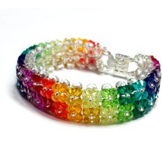Swarovski Crystal Rainbow Bracelet ($25) ❤ liked on Polyvore featuring jewelry, bracelets, accessories, jewels, rainbow, crystal jewellery, crystal jewelry, rainbow jewelry, crystal beaded jewellery and swarovski crystals jewelry