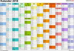 Vorlage 1: Kalender 2018 als PDF-Datei, Querformat, 1 Seite, Monate nebeneinander, jeder Monate in anderer Farbe