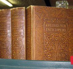 vintage book display embossed cover