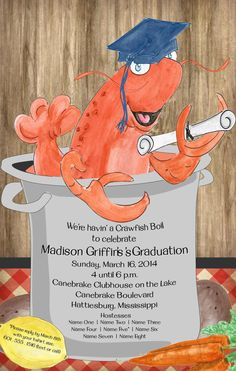 Crawfish Boil Graduation Party Invitation by YourStationeryStop