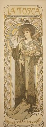 Mucha La Tosca 1899 // Woman in a brown hat and gown holding a bunch of flowers and a cane framed with circular decorative elements