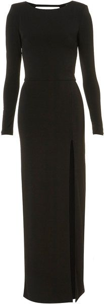 long black dress, with sleeves and slit. Perfect for an outdoor may wedding at night.
