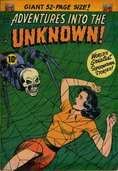 Adventures Into The Unknown July 1952 Vintage Reproduction Horror Comic Cover Vintage Comic Books, Vintage Comics, Comic Books Art, Comic Art, Sci Fi Comics, Horror Comics, Creepy Comics, Horror Art, Comic Book Plus