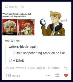 Hetalia - Russia snapchatting America xD<< I don't ship it but this was too hilarious to pass up XD