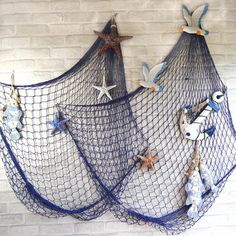 Only US$11.76 , shop Mediterranean Style Decorative Fish Net With Shells Blue White at Banggood.com. Buy fashion Hanging Ornaments online.