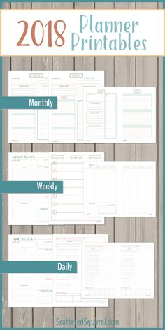 Everything you need to get your 2018 planner started. Includes 4 dated monthly calendars, monthly planning pages, Monday and Sunday start weekly layouts, daily pages, and three matching note pages. Arc Planner, 2018 Planner, Planner Layout, Monthly Planner, Planner Pages, Printable Planner, Planner Ideas, Free Printables, Planning And Organizing
