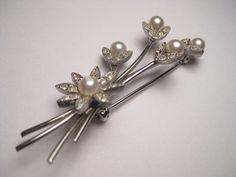 "Vintage Faux Pearl Marcasite Floral Bouquet Brooch - silvertone - 2 1/3"" long #unknown"