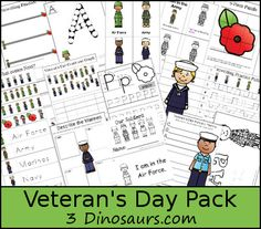 Free Veterans Day Pack - over 60 pages of activities for ages 2 to 8 plus a Tot pack - 3Dinosaurs.com