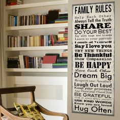 """""""Family Rules"""" canvas poster"""