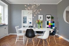 Interior Design, Colorful Interior Design Dining Room Of Modern Home With Unique Crystal Pendantlamp Above White Dining Table Set And Mixing. Scandinavian Interior Design, Apartment Interior Design, Contemporary Interior Design, Modern Interior, Swedish Design, White Dining Table Set, Modern Dining Table, Dining Room Sets, Appartement Design