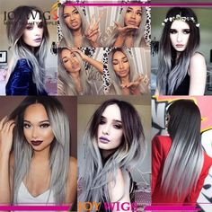 ombre human hair wig,#1B/grey If you are interested,pls contact us.  Email: daisy@joywigs.cn  whatsapp:+8613954254630 Instagram:@joy.rong Skype:daisy@joywigs.cn